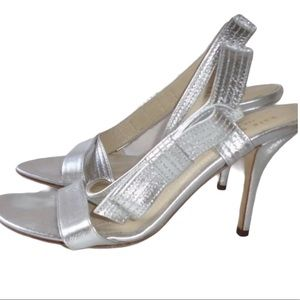 Kate Spade Silver Side Bow Heeled Sandals Sz 8